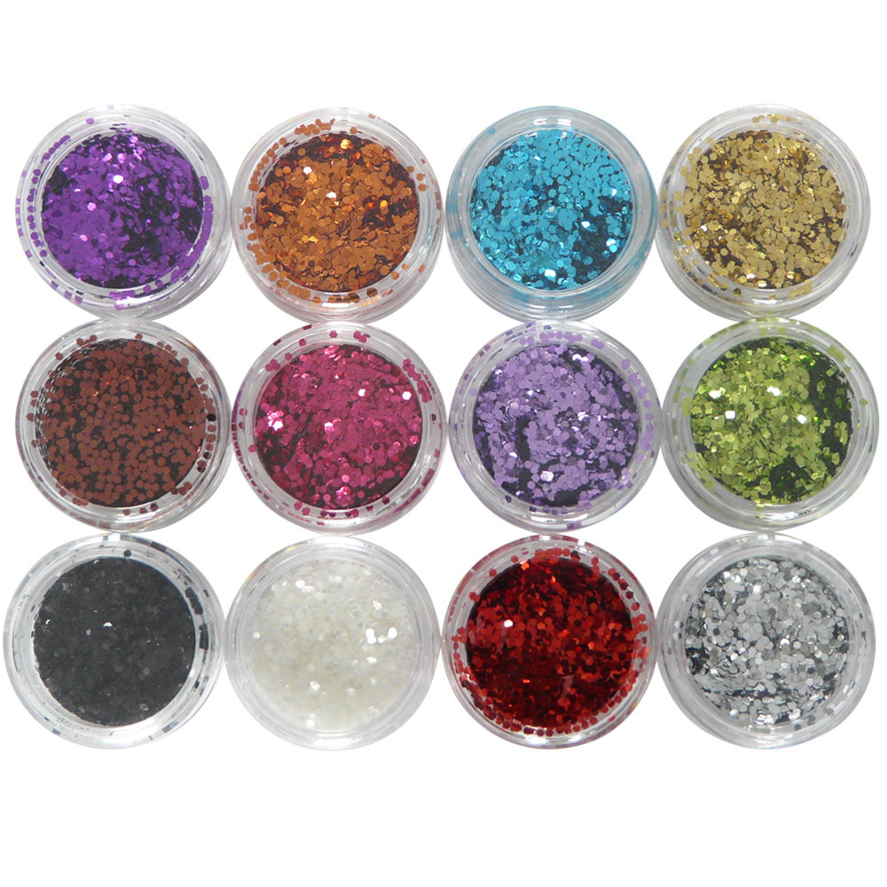 12 verschillende kleuren hexagon glitter nailart. Te gebruiken met gel product / acryl product / gelnagellak / nagellak.