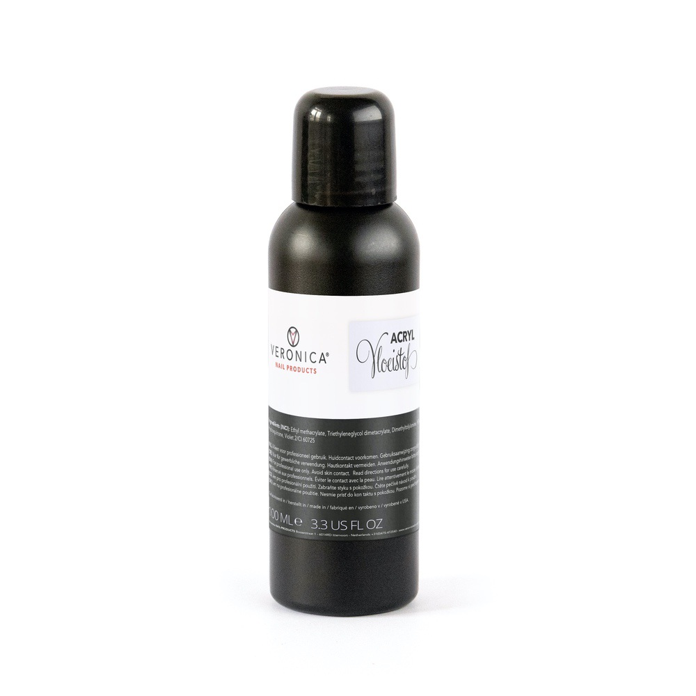 Acryl vloeistof / acryl liquid / acryl monomeer vloeistof, 100 ml. Te combineren met glitter acryl poeder / color acryl of acryl producten van ander merk. Alles voor de acrylnagels.