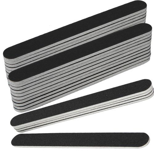 Rechte nagel vijlen grit #100/180 in de kleur zwart, per 25 stuks. Voor kunstnagels (acryl, gel) én natuurlijke nagels.