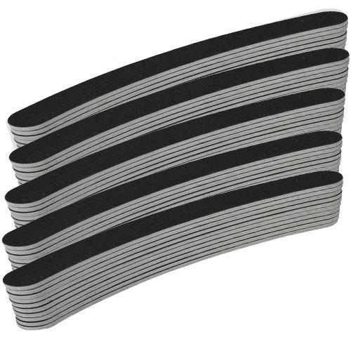 Goedkoopste nagelvijlen grit #100/180, krom, kleur zwart, per 50 stuks. Voor kunstnagels (acrylnagels, gelnagels) én natuurlijke nagels.