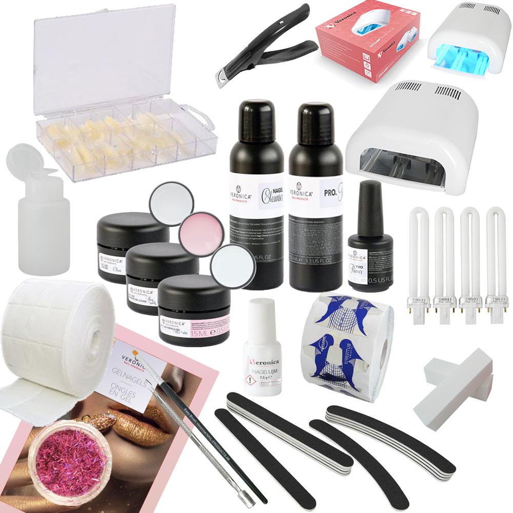 Veronica NAIL-PRODUCTS French manicure Gelnagels starterspakket, starter set Manicure, compleet met gel lamp