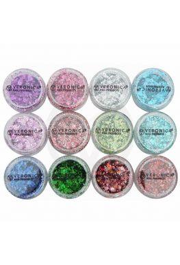 12x Chunky glitter mix nailart