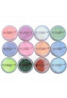 12x Neon nagel glitters