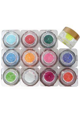 NEON 12x nagel glitters voor nailart in luxe vierkante acryl potje