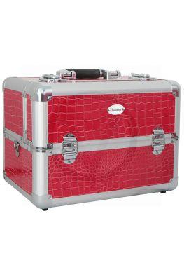 CROCO ROZE / ROOD koffer, beautycase