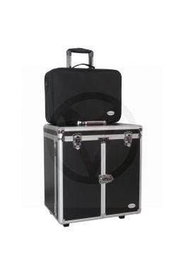 ALUMINIUM pedicure koffer + NYLON tas,  zwart!