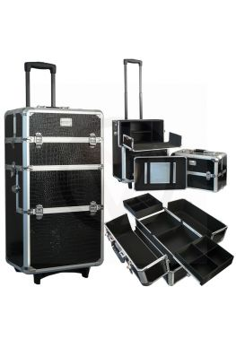 Aluminium nagel trolley 3 in 1, Croco zwart