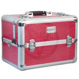 Aluminium beautycase, Croco roze