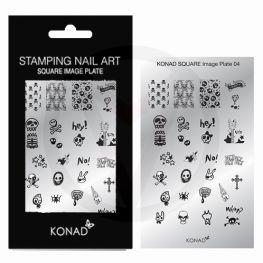 KONAD Square nail stempel 04 ' SKULL ROCK N ROLL '
