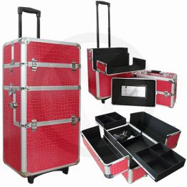 Aluminium make-up, nagel, cosmetica, trolley's 3 in 1 CROCO ROZE - ROOD