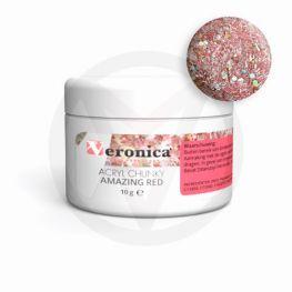 Chunky glitter mix acryl poeder 10 gram: AMAZING RED