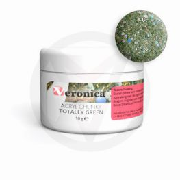 Chunky glitter mix gekleurde acryl poeder, TOTALLY GREEN 10 gram