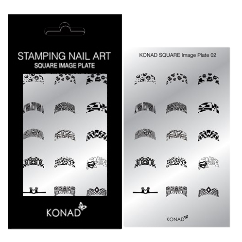 KONAD Square nagel stempelplaat 02 met 15 ' FRENCH MANICURE ' nagel stempel motieven.