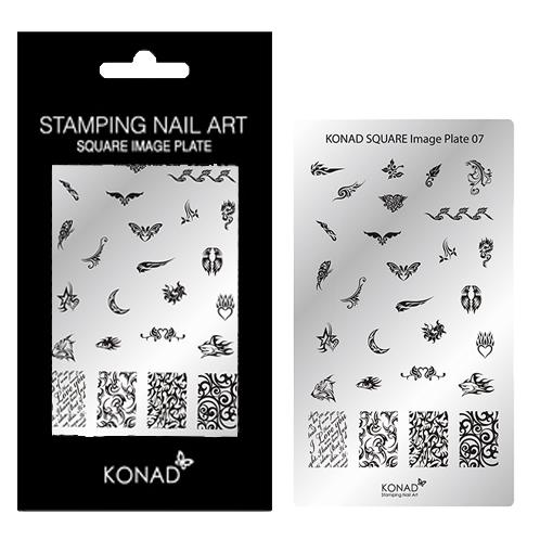 KONAD Square plate 07 met 28 ' TRIBAL FLAME ' stamping nail art.