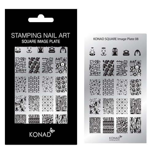 Konad Square stempel sjablonen plaat 08 met 21 nagel sjablonen geïnspireerd door ' DIEREN ': zebra's, katten, eenden, vissen, egels, panda's, beren, bosdieren, schapen, pinguïn, slangenprint, hondenpr