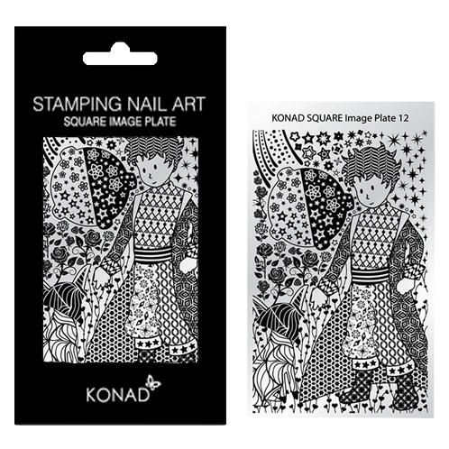 KONAD Square Image Plate 12 geïnspireerd door ' PRINTS ': punten, sterren, bloemen, rozen, hartjes, kompassen....