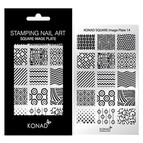 KONAD Square stempel sjabloon 14 met 15 nagel figuurtjes.