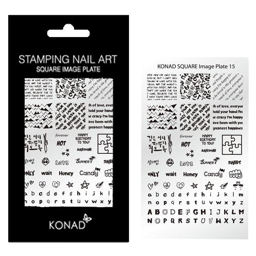 KONAD Square stempel sjablonen plaat 15 met 77 nagel sjablonen geïnspireerd door ' LIEFDE ' incl. alfabet en verschillende prints.
