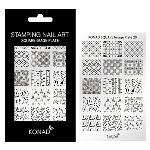 KONAD Square stempel sjabloon 20 met 15 ' FEEST ' (kerstdagen & jaarwisseling & party) nagel figuurtjes.