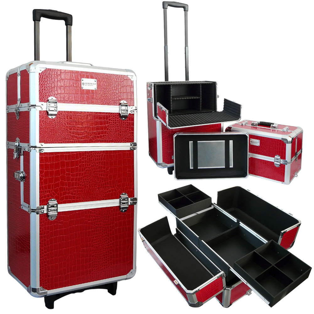 Veronica NAIL-PRODUCTS - Aluminium nagel trolley 3 in 1 - Croco rood - Pedicure & manicure trolley, trolly - Sinterklaas koffer