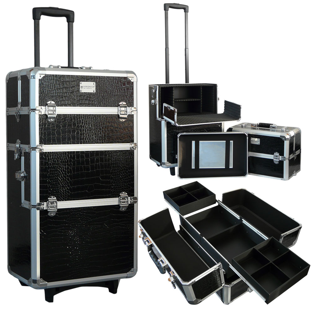 Veronica NAIL-PRODUCTS - Aluminium nagel trolley 3 in 1- Croco zwart - extra deksel & spiegel - veel opbergruimte