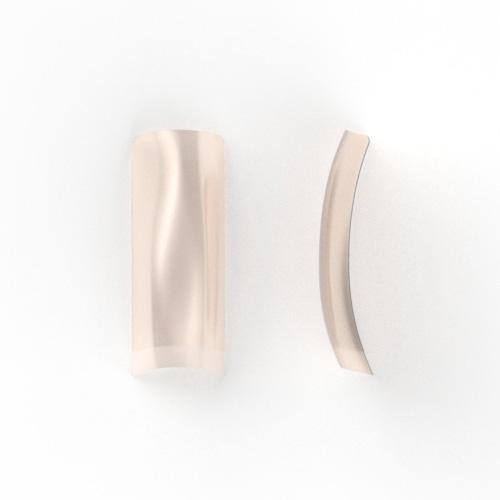 100 stuks, nagel tips NATURAL met kort opzetstuk, in een nagel box.