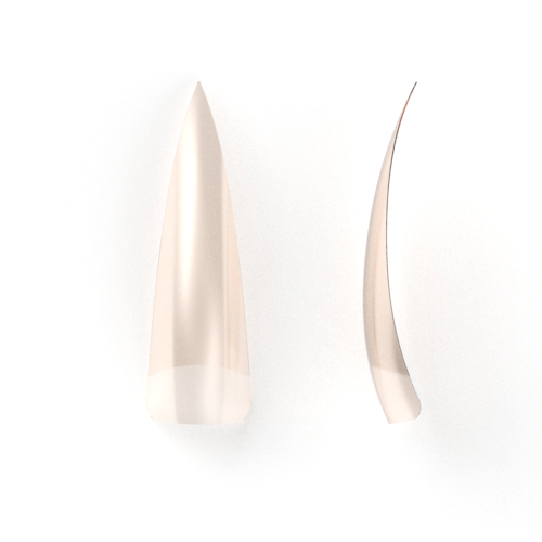 100 stuks, stileto nagel tips Natural met breed opzetstuk in een nagel box.