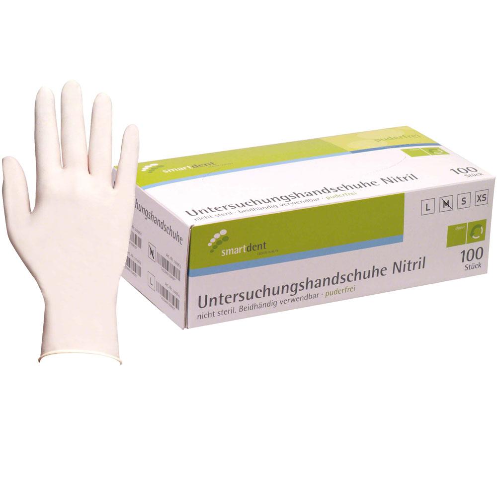 Nitrile handschoen, Smartdent WIT - maat M, gezondheidszorg,voedselindustrie, beauty branche,chemische industrie, uitvaartzorg.